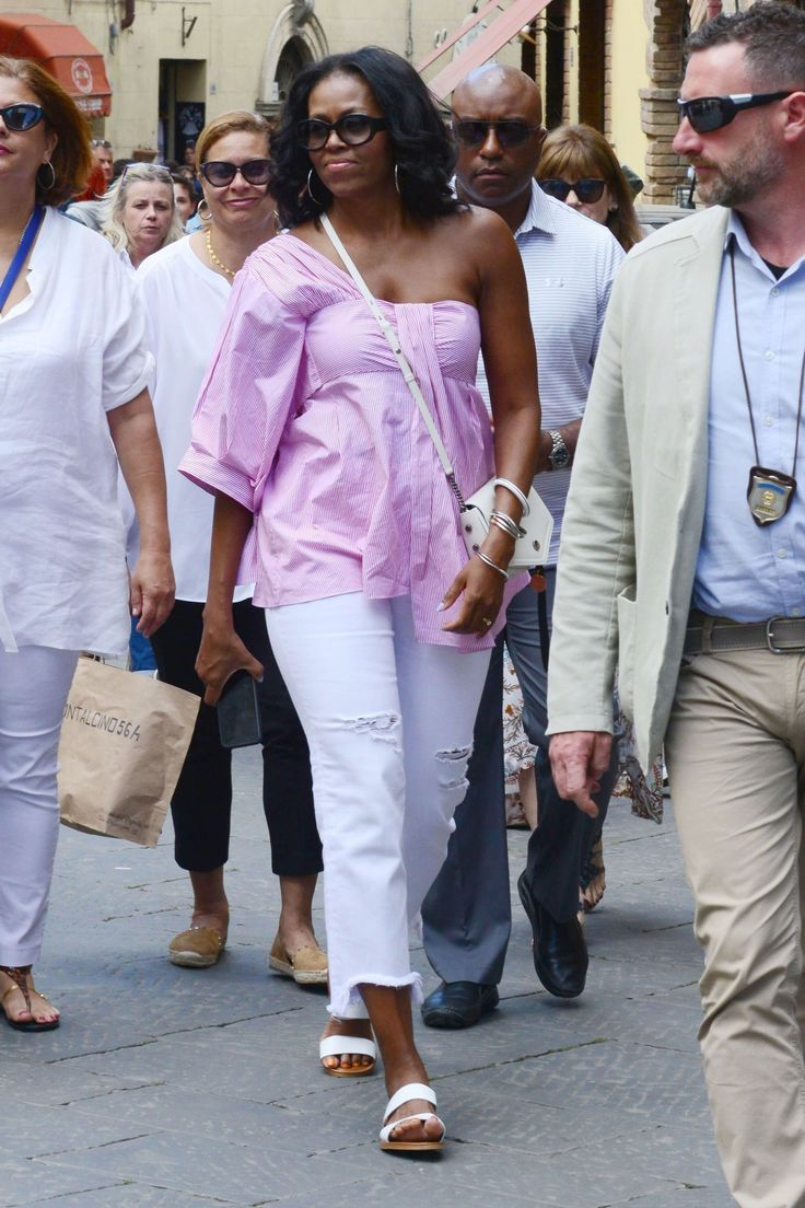 Michelle obama debuts a new off duty look in italy