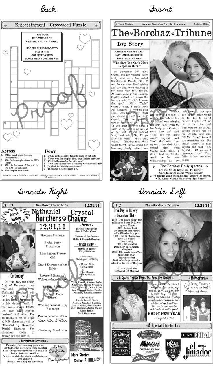 Wedding Program Newspaper Template | Mini Newspaper Program | Features