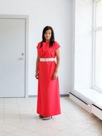 Betolli long MAXI dress. Salmon color dress with light linen belt. Go to www.betolli.com/eng