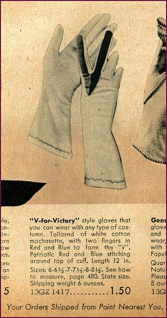 V for Victory gloves - I'd love to find (or make) a pair of these one day ~