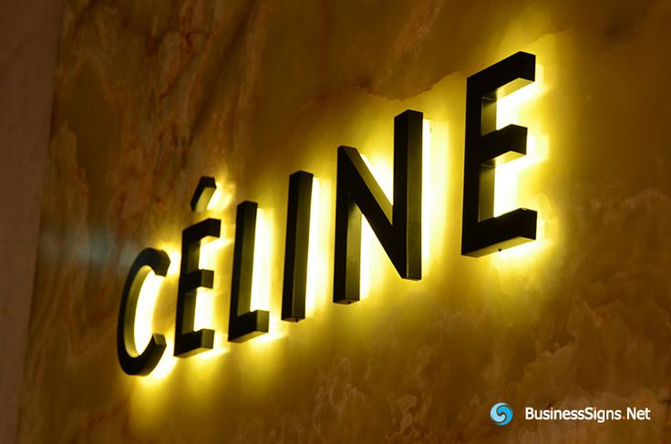 3D LED Backlit Signs With Painted Stainless Steel Letter Shell & 20mm Thickness Acrylic Back Panel For Céline