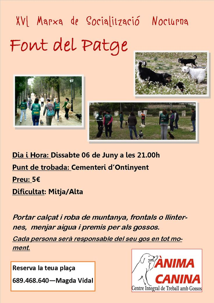 #marchasocializacioncanina #animacanina ya tenemos fecha y ruta para la proxima caminata, y esta vez repetimos nocturna a la Font del Patge de #ontinyent, te lo vas a perder??? reserva ya tu plaza!!!