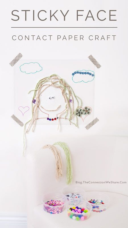 A fun contact paper craft for kids using craft materials to create a face.