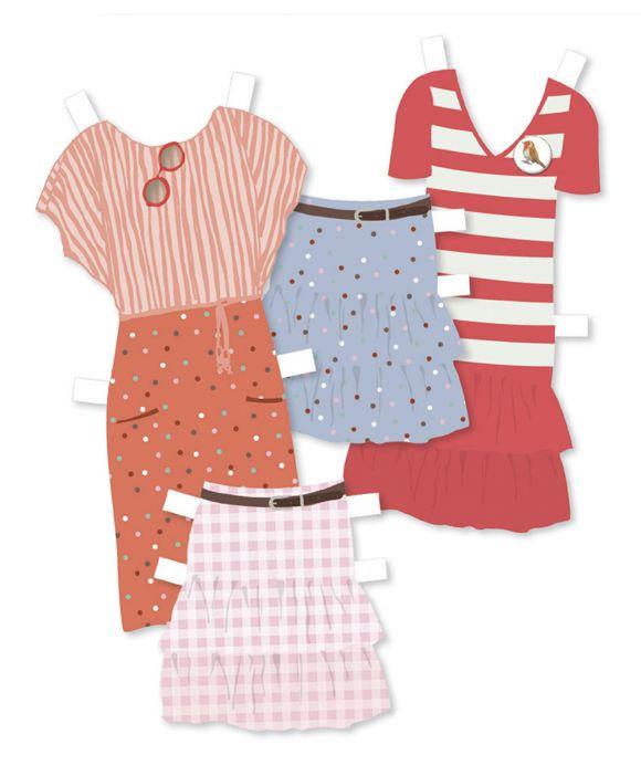 Papír öltöztető babák modern ruhákkal