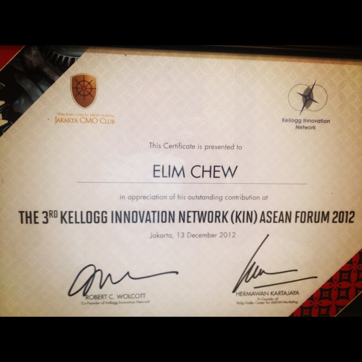 3 years of Sharing at Kellogg Innovation Network (KIN) Asean Forum 2012 ! Thank u for wonderful event by Robert Wolcott & Hermawan Kartajaya  #77thstreetcom #markplus