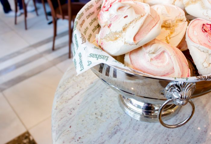 Meringue, granite and a stylish silver display bowl at the tashas eatery in Canal Walk, Cape Town.  We also love the marble detailing in the flooring. Go to www.rudischoice.co.za to get matching materials in South Africa and Zimbabwe!