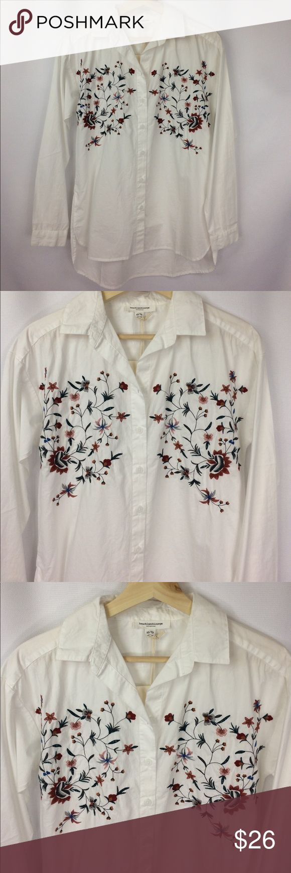 """Beach Lunch Lounge blouse embroidered NWT Brand new! Light & airy 100%cotton. Beautiful embroidered blouse. XS but is a roomy style shirt. Approx 19"""" across and 26"""" front length and 29""""in the back. High low style. This brand is sold at Bloomingdales. Can be worn open with a tank under as well. Beach Lunch Lounge Tops Blouses"""