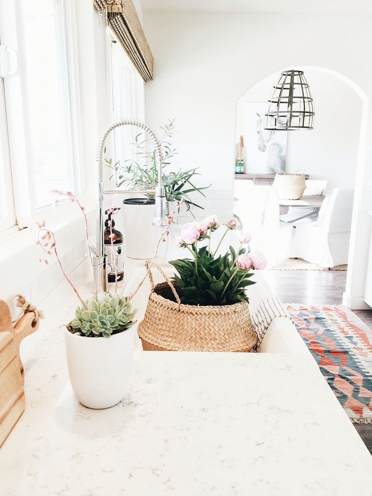Decorating with peonies and baskets