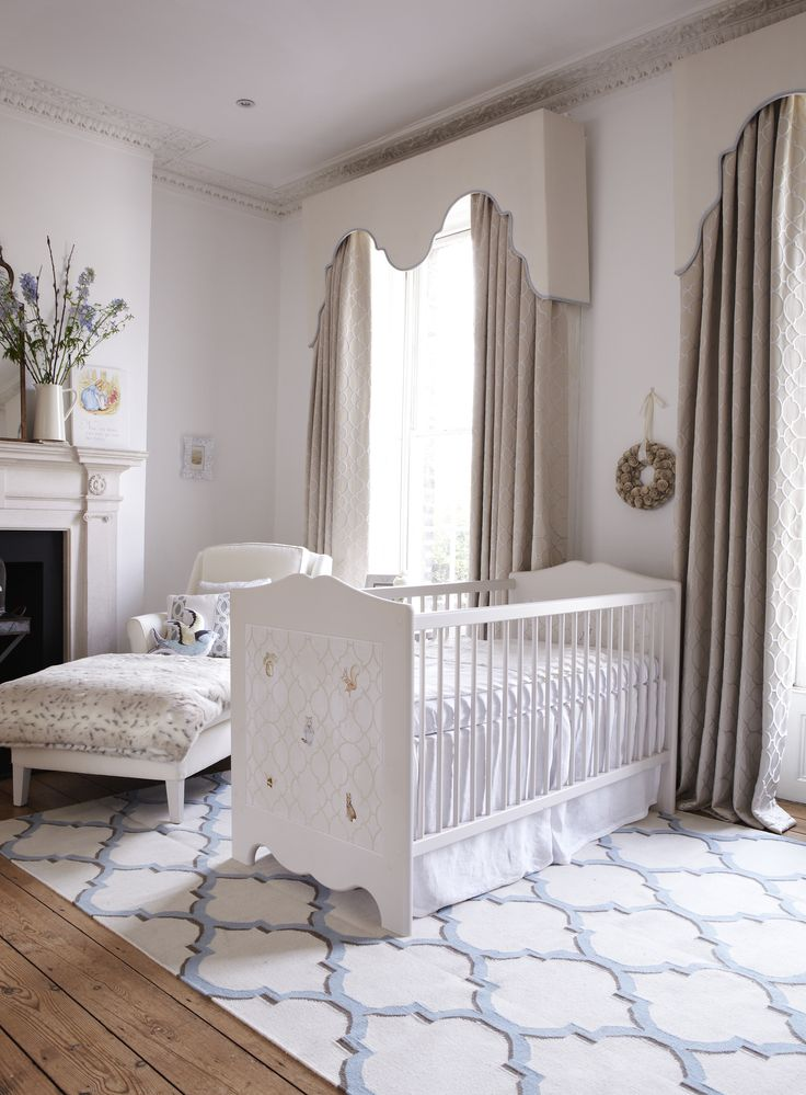 Our Arabesque flat woven rug featured in Dragon's of Walton Street's nursery via Lesser Spotted.