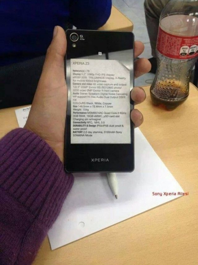 Sony Xperia Z3 Prototype Leaks with Complete Specs