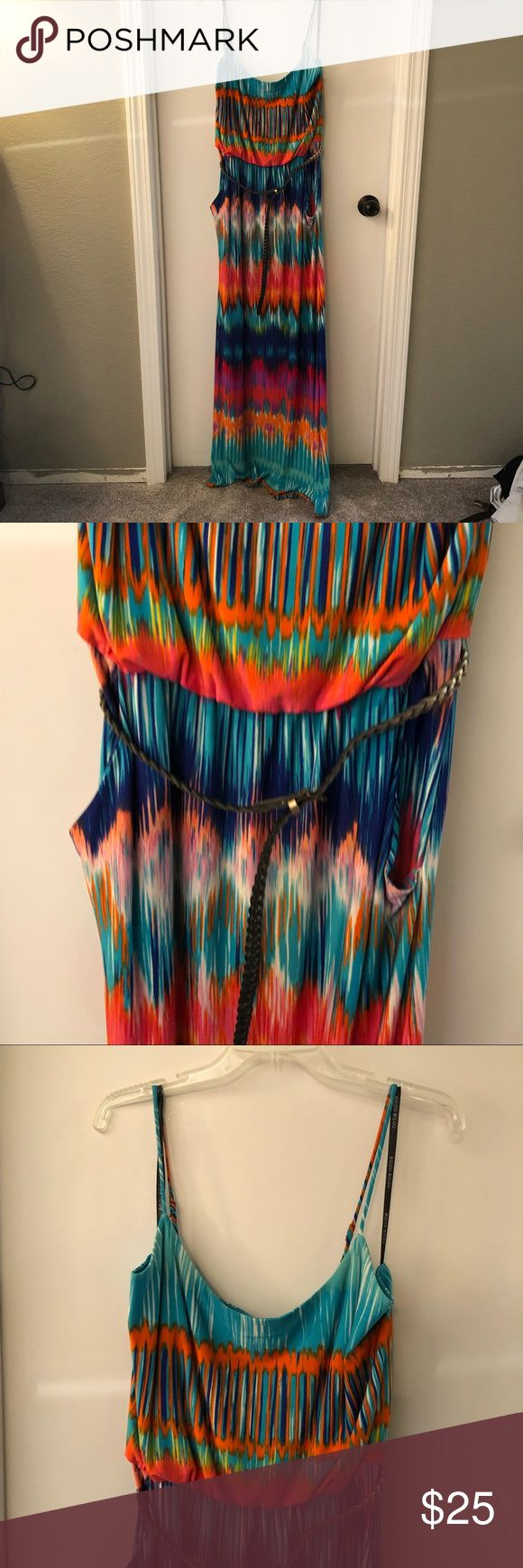 Maxi dress Colorful maxi dress with straps. It comes with a gold braided belt and it has pockets.  It is a fun piece to take on vacation or to the beach. Bisou Bisou Dresses Maxi