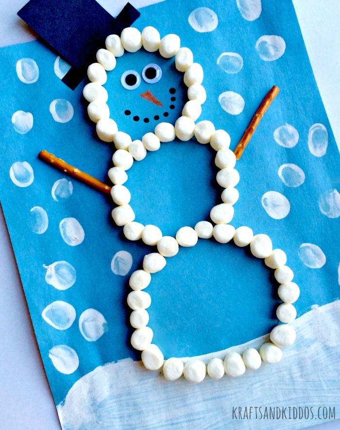Marshmallow Snowman craft for kids