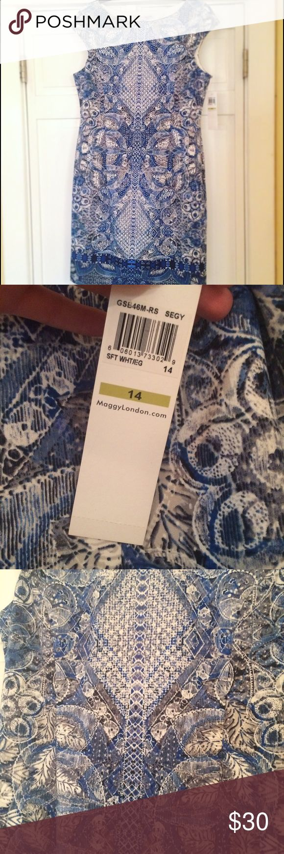 Women's dress Women's print blue and white dress! Perfect for work or a night out! Brand new never worn. Nordstrom Dresses Wedding