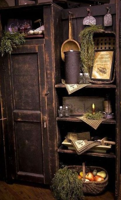 how to decorate shelves with primitives armoire/shelf/bookcase styling rustic, farmhouse, primitive, cottage
