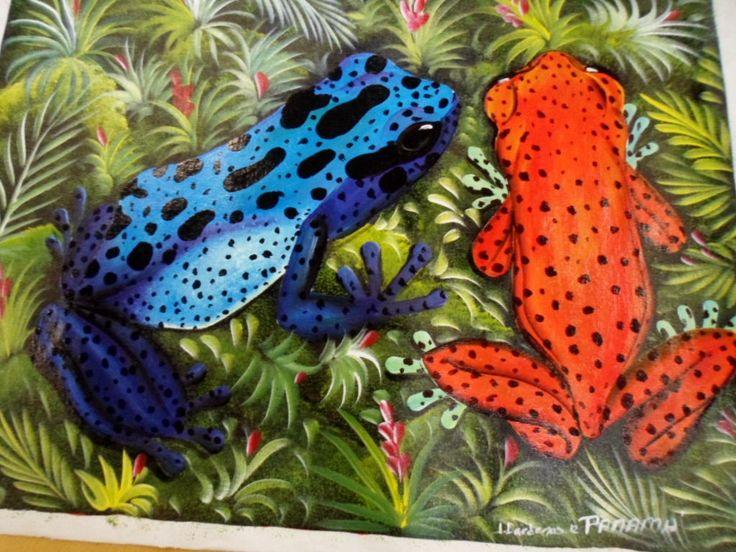Rainforest Animal Painting Poison Dart Frog Panama - 3.95817