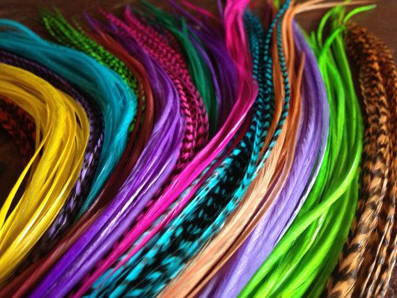Weft Clip In Feather Extensions, Custom Removable Long Feather Hair Extension Clip, You Pick 6 Feathers, Hair Accessories