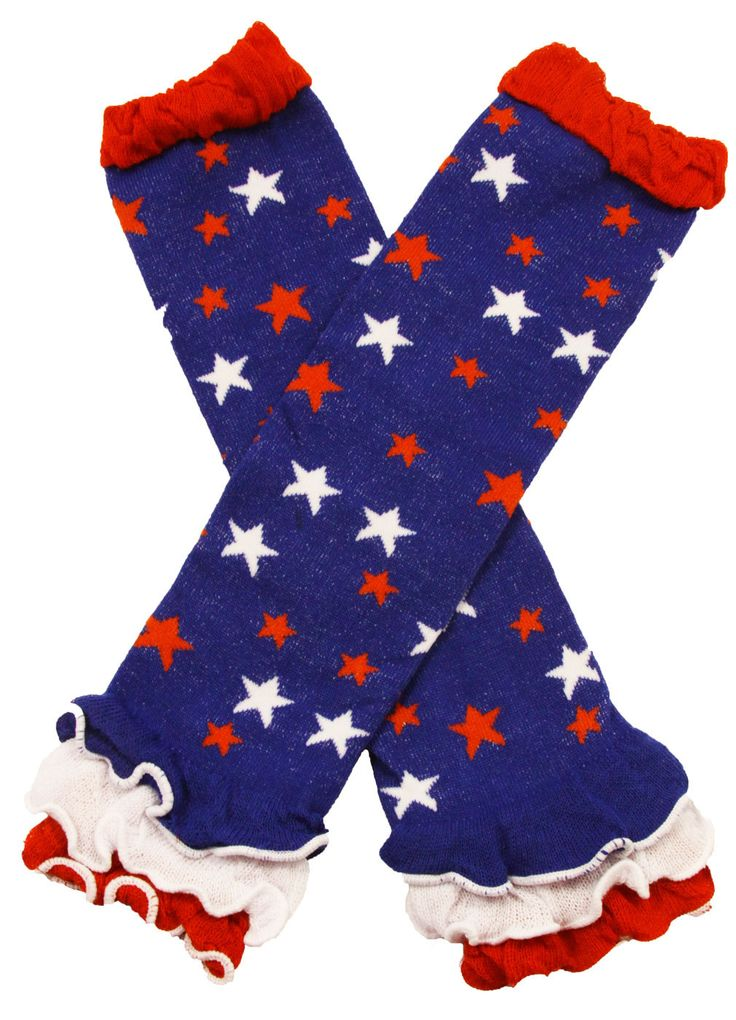 Baby Girls 4th of July Patriotic Red, White and Blue Stars Ruffled Legwarmers Little Girls Leg Warmers 4th of July Babies by BabyGirlTutus on Etsy