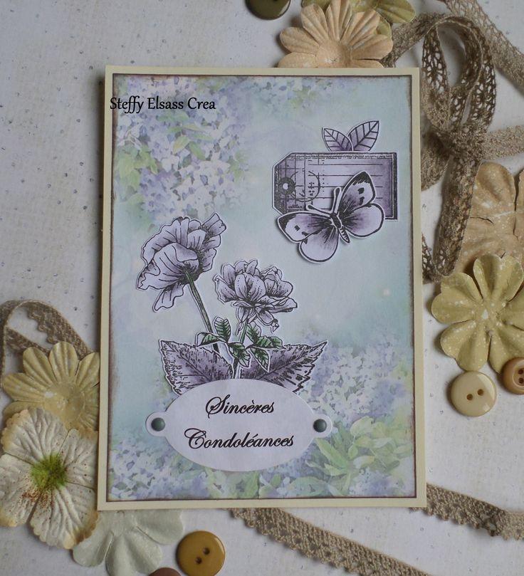 Carte Sincères Condoléances Fleurs Papillons Gris : Cartes par steffy-elsass-crea