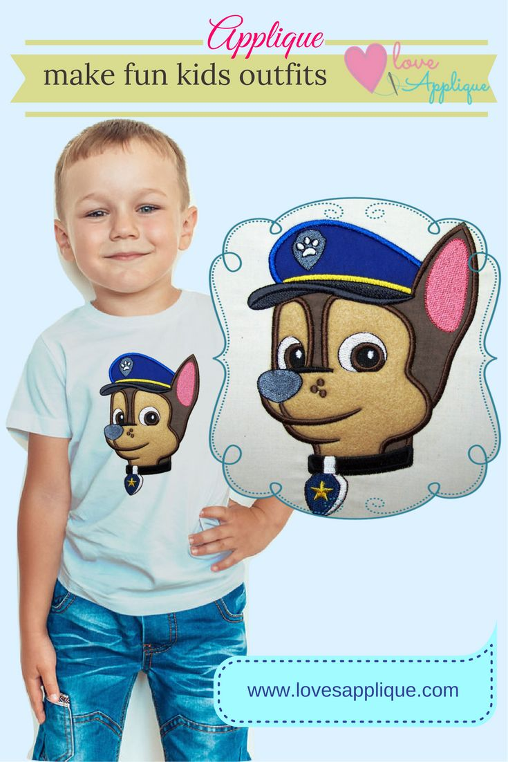 Paw Patrol Applique Designs. Chase Applique Designs. Paw Patrol Embroidery. Paw Patrol Party Ideas. Paw Patrol outfits. Paw Patrol T-Shirts