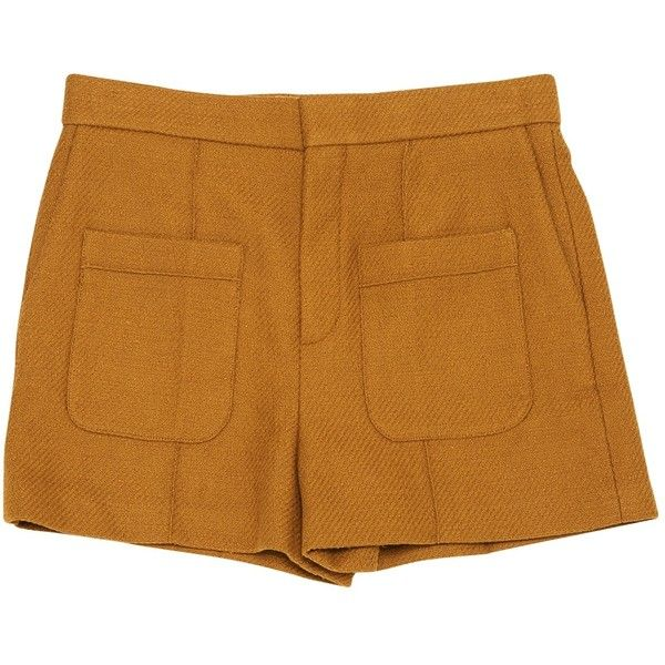 Pre-owned Chloé Camel Cotton Shorts ($275) ❤ liked on Polyvore featuring shorts, camel, women clothing shorts, cotton shorts, chloe shorts and camel shorts