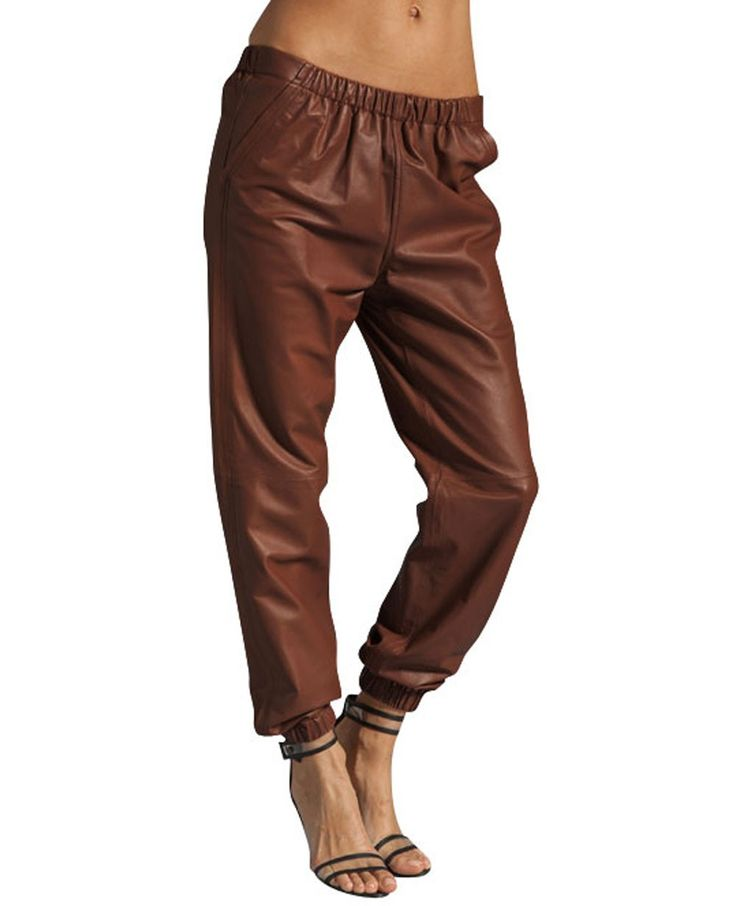 Luxury Korean Womens Brown Waistband Elastic Skinny Cotton Pants Trousers