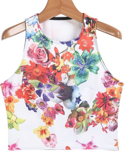 White Sleeveless Midriff Floral Vest pictures