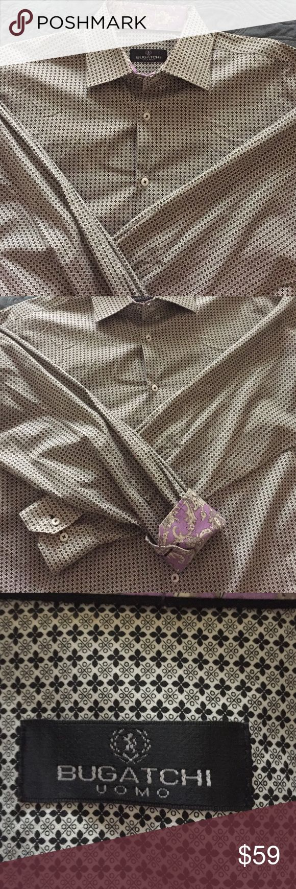Men's Bugatchi Shirt Size XL This shirt is Ah-Mazing !! Men's Bugatchi Button Down Shirt • Size XL • Black and White with Purple and White paisley inside collar and chuffed • Worn once and just back from being professionally dry cleaned • 100 % Cotton • Originally paid $225 for this shirt • My husband has lost weight above sure to keep checking back as we add new items • Free Shipping for all orders of $40 or more ..just comment if doing a free shipping item or bundle so I can set it up for…