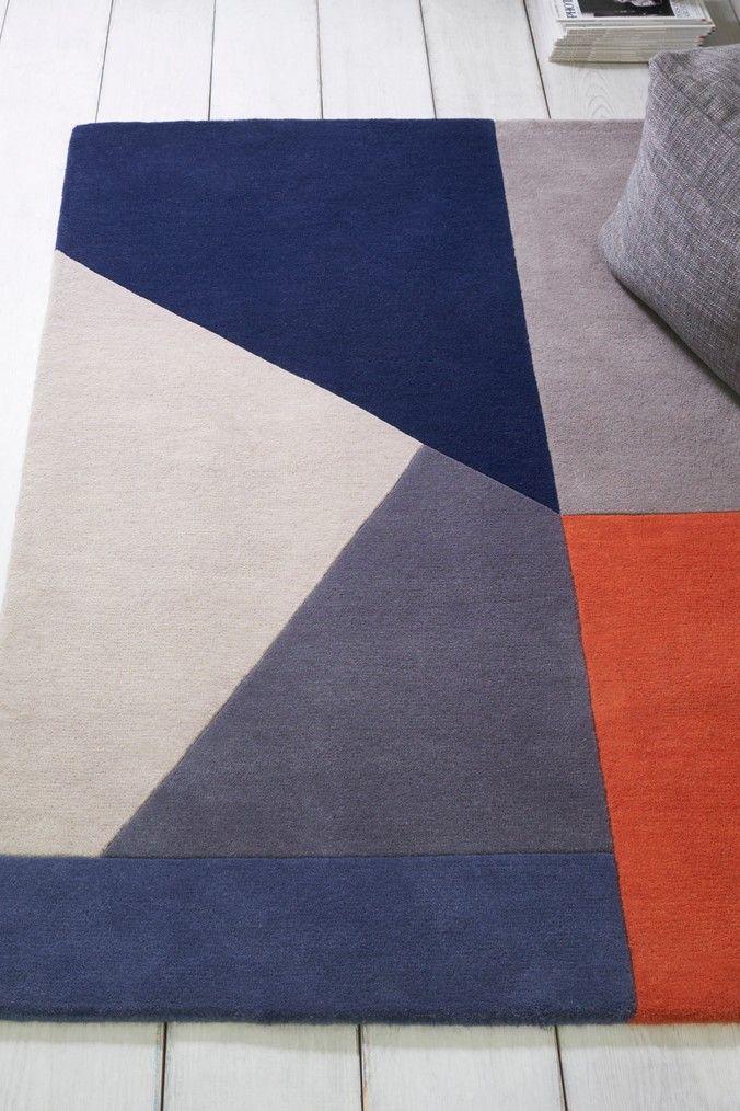 Next Orange Colourblock Navy Rug Blue