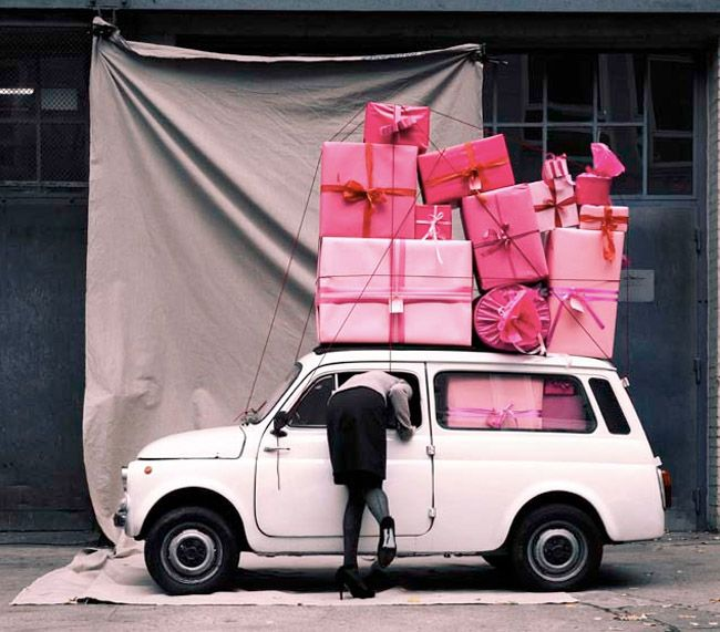 Image result for image of presents stacked on car