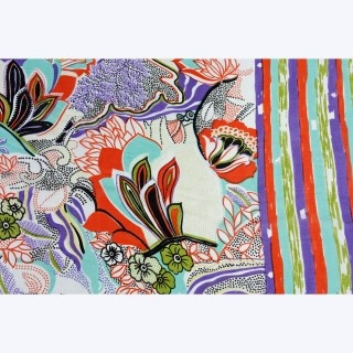 Petal Silk Scarf by Juniper Hearth. Indian, hand screen printed with a floral and stripe pattern in lavender purple, terracotta and green. A gorgeous wrap for the evening or a garden party. $79.