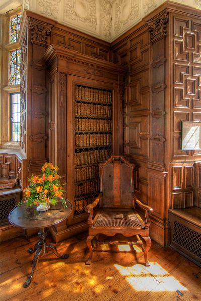 The library at Montecute House in Devon, England. The house was built around 1698, and the room in which the library is now was originally used as a Great Chamber, where important guests were received