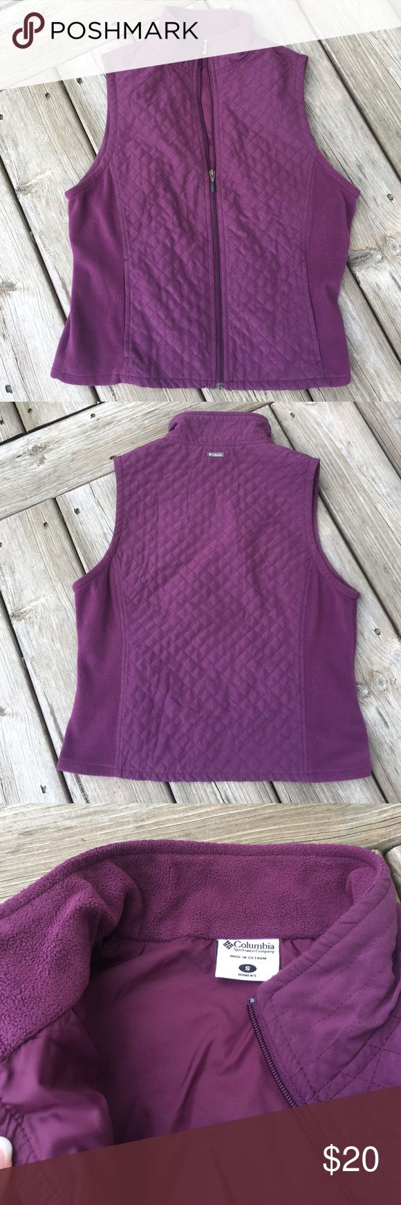 Columbia purple vest GUC. This is a great transition into spring vest.  Cute purple quilted pattern.  Sides are fleece.  No stains, holes or tears. Columbia Jackets & Coats Vests
