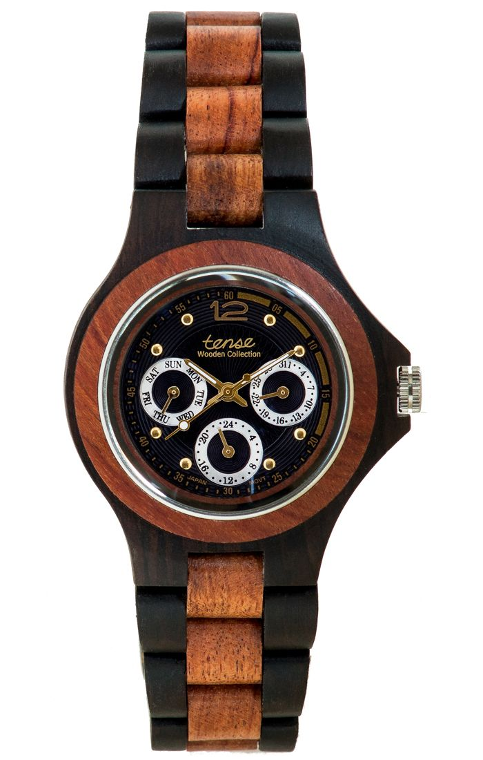 Tense Men's Northwest Multifunction Watch in Dark Sandalwood and Rosewood - $195 at tensewatch.com.