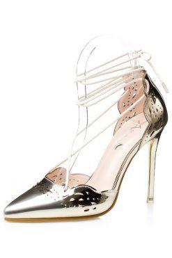 Pantofi Aurii; pantofi stiletto aurii; pantofi aurii cu toc