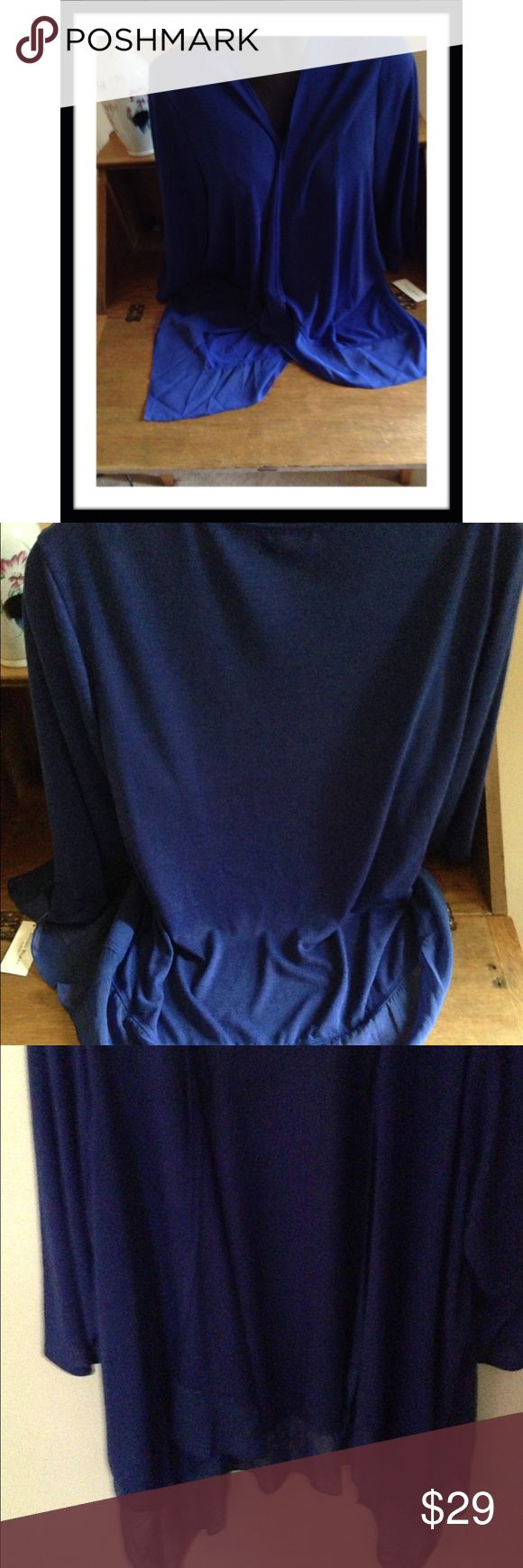 """ROYAL BLUE FLOUNCED COVER UP Studio Works brand 78% polyester, 18% rayon, 4% spandex top with 100% polyester frilly bottom hem, open front & 3/4 length sleeves. Underarm to underarm 25"""" & length 30"""" to bottom of sheer trim. Exquisite royal blue color!! Tops"""