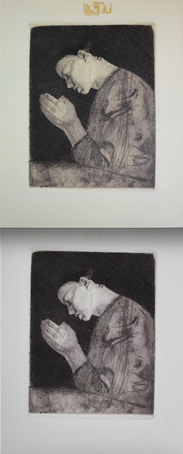 Before and after conservation of an etching with tape residue staining.