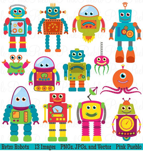 Robots Clip Art Clipart, Retro Robot Party Clipart Clip Art Vectors - Commercial and Personal Use