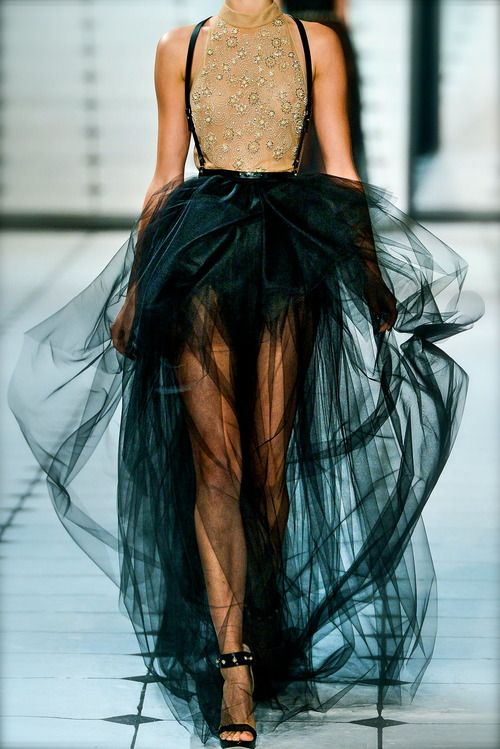 New York Fashion week- chiffon, tulle, ruffles, sequins, crystals, lace, sheer, suspenders, beading, detail, embroidery, tutu, ballerina, couturier, atelier, fairytale, studs, elegant, chic
