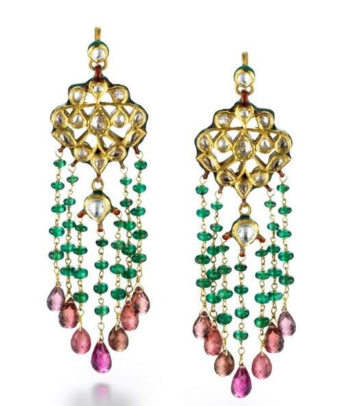 oriental boho earrings gems.