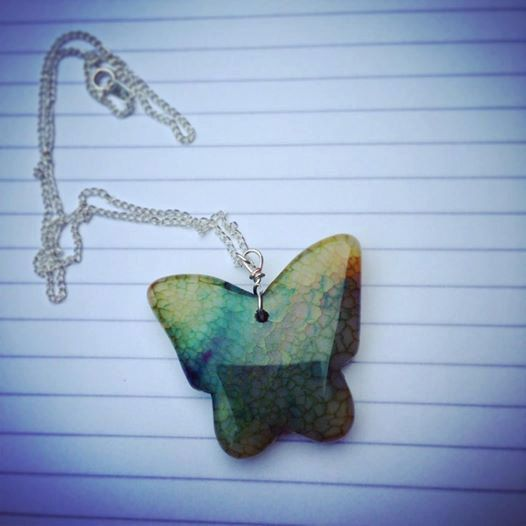 Silver Agate Butterfly Pendant Necklace by ClareyfairyCreations