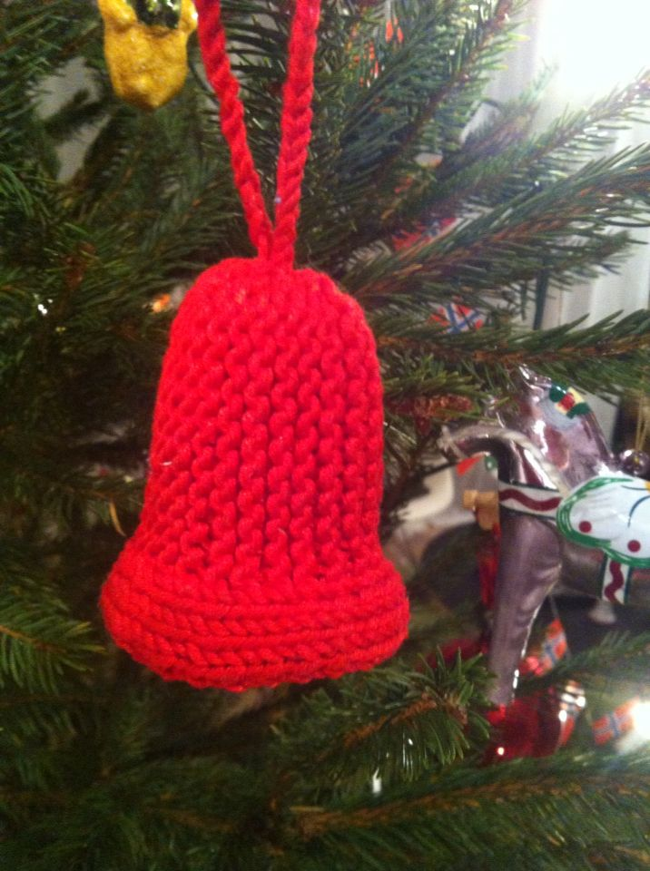 hand knitted christmas bell tree ornament m e r r y j