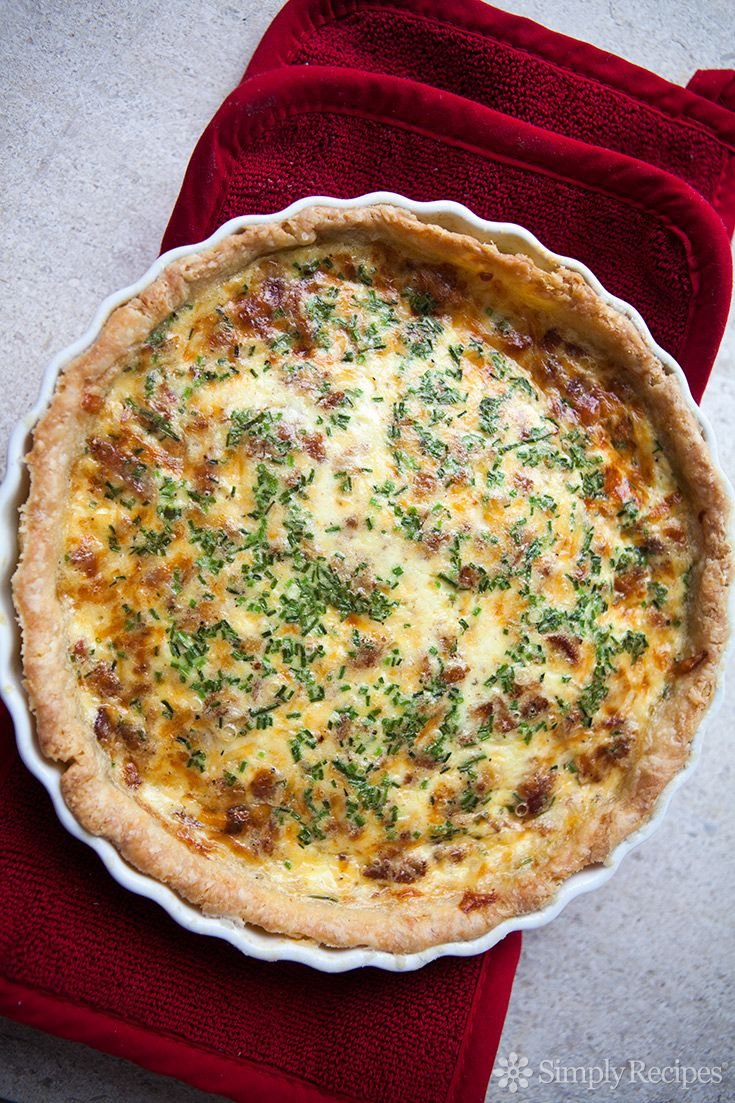 Quiche Lorraine ~ Quiche Lorraine with a buttery crust and a tender filling with our favorite food group - bacon! Perfect for an Easter brunch. ~ SimplyRecipes.com