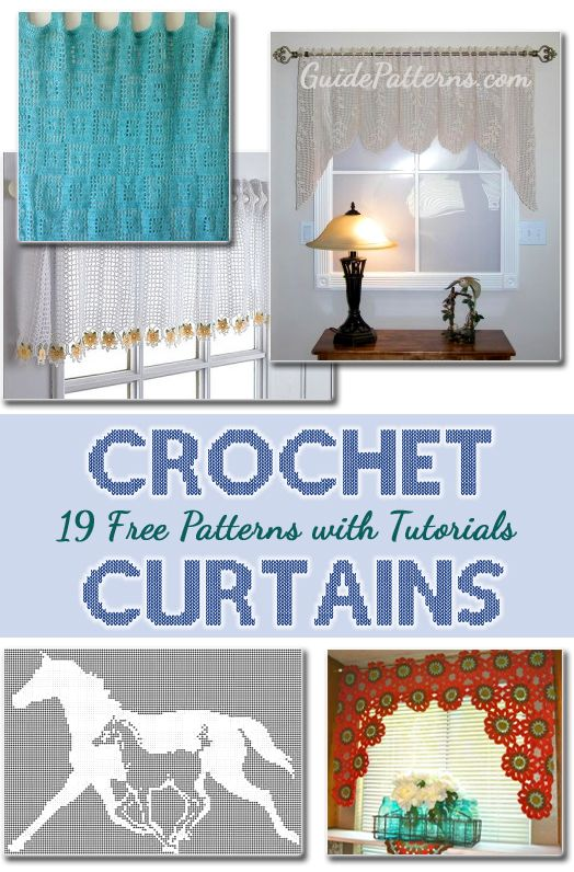 19 Free Patterns For Making Crochet Curtains with details tutorial and instructions.