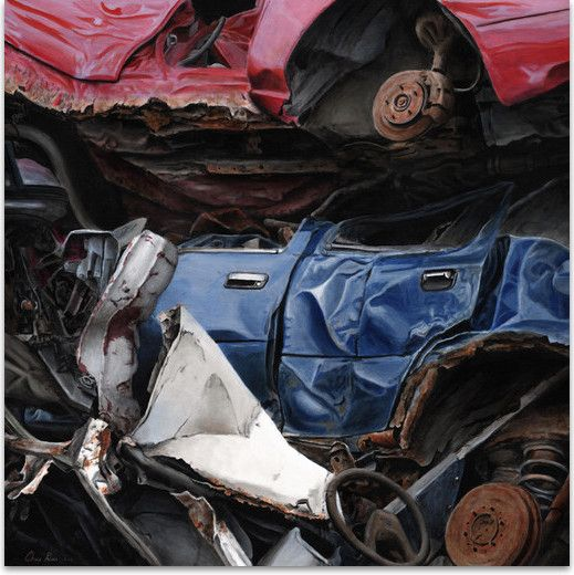 """Demise of a blue Ford Acrylic on canvas 48""""x48"""" unframed"""