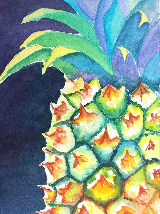 Pineapple. Original Watercolor painting by artist Carlin Blahnik. Pineapple tropical fruit is a symbol of warmth and welcome. Watercolor painting of a ripe pineapple with a dark background. The pineapple is bright with color, yellow, green, blue and ripe brown. This shows a whole uncut fruit with leaves.