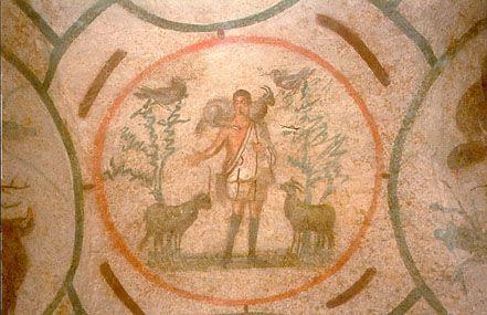 Christ as the Good Shepherd, fresco, 3rd century, Roman Catacombs: Fresco De, Buen Pastor, Pastor Del, Catacumba De, Christian Catacombs, Good, Art History, Catholic Books, Books Review
