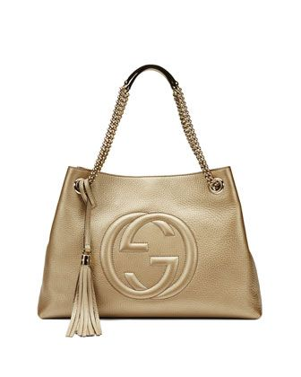 Soho Metallic Leather Tote Bag, Golden by Gucci at Neiman Marcus.