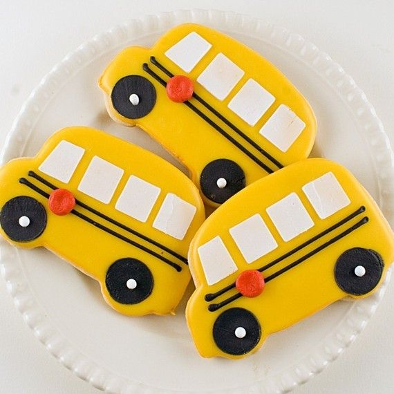 School Bus Decorated Sugar Cookies  12 Favors by TSCookies on Etsy. , via Etsy.