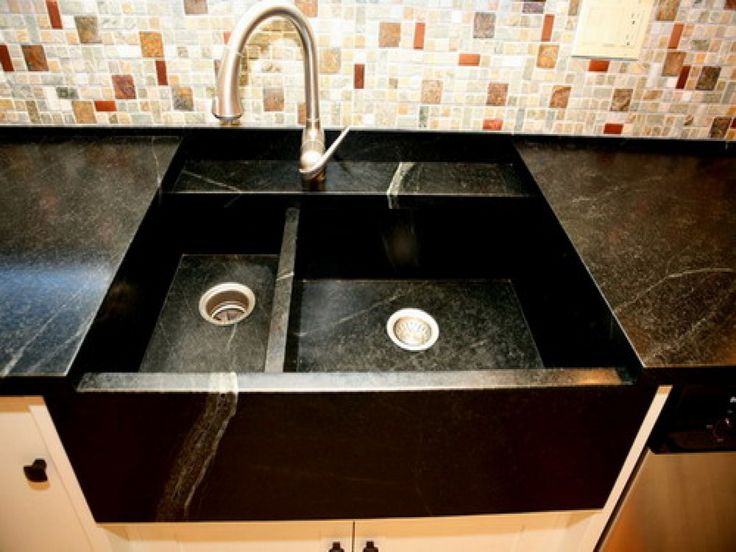 marble tile of backsplash decoration with faucet in stainlees sink on white granite countertop also in porcelain kitchen sinkblack - Porcelain Kitchen Sink