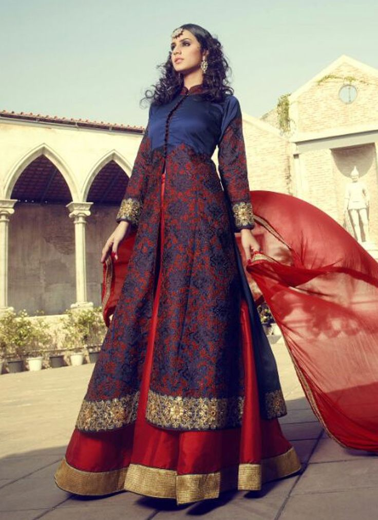 Savory Blue Net Silk Lehenga Style Anarkali Gown